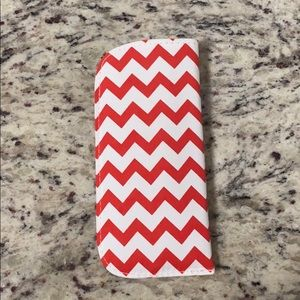 Red White Chevron Soft Eyeglasses Sunglasses Case